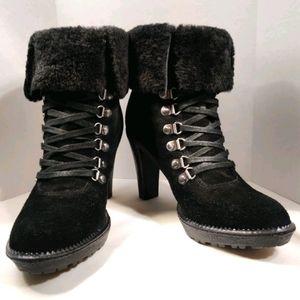 VIA SPIGA Leya Suede Fur Lace Up Black Heel Bootie